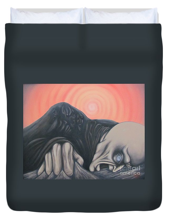Tmad Duvet Cover featuring the painting Vertigo by Michael TMAD Finney