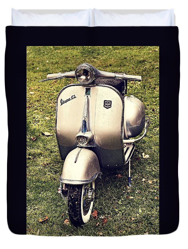 Scooter Duvet Cover featuring the photograph Vespa Gs by Dutourdumonde Photography
