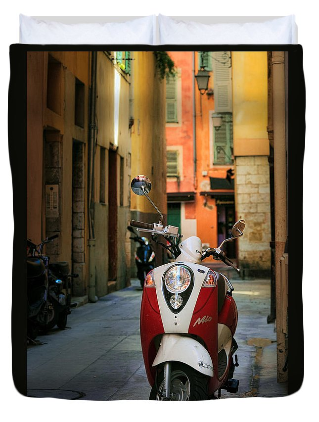 Cote Azur Duvet Cover featuring the photograph Nicoise Scooter by Inge Johnsson
