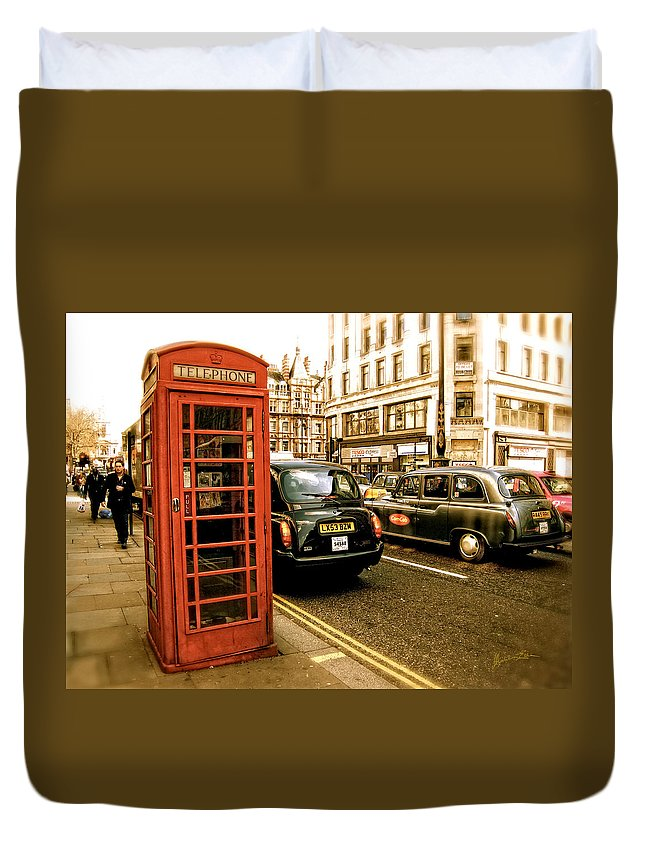Telephone Booth Duvet Cover featuring the photograph Vestigial by Madeline Ellis