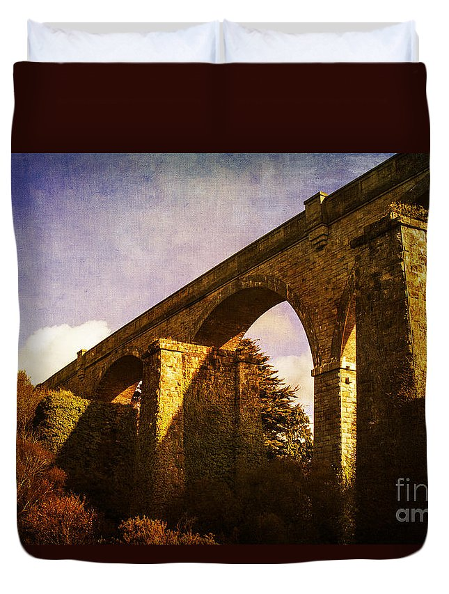Carnon Valley Viaduct Duvet Cover featuring the photograph Viaducts by Brian Roscorla