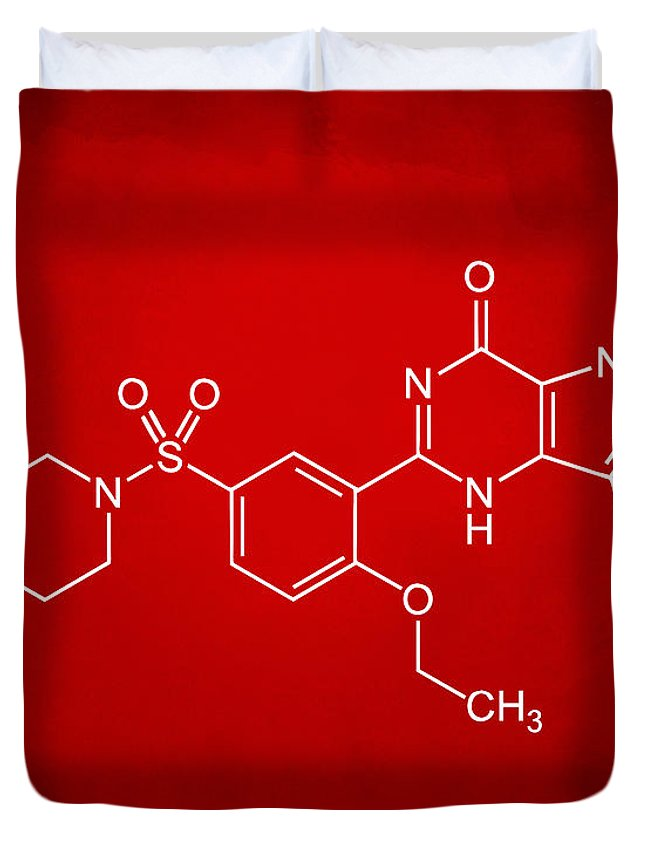 Viagra Duvet Cover featuring the digital art Viagra Molecular Structure Red by Nikki Marie Smith