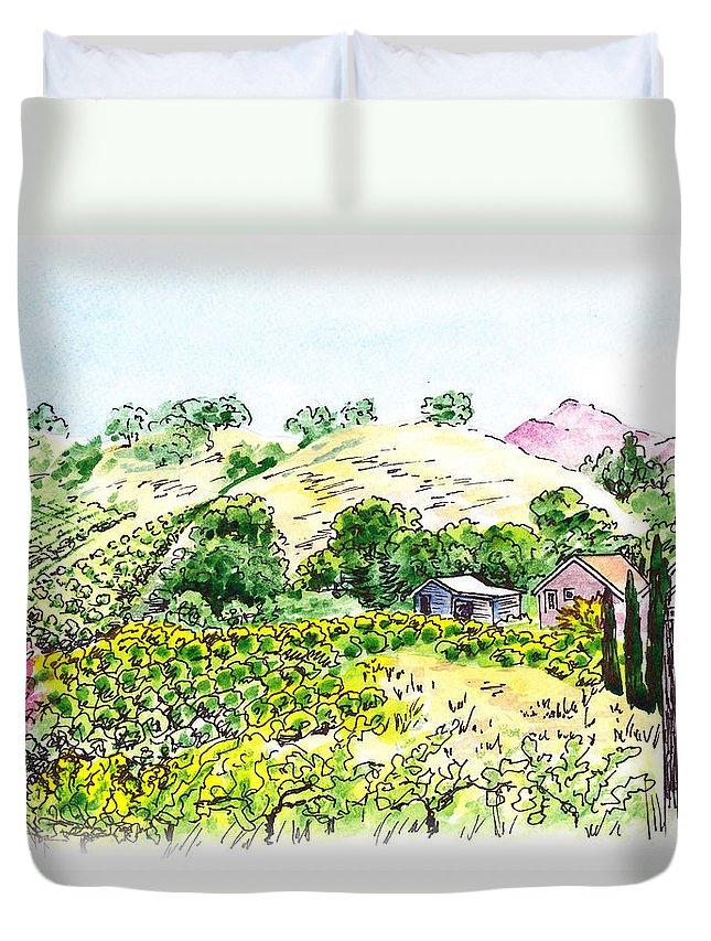 Wine Duvet Cover featuring the painting Viano Winery Martinez California by Irina Sztukowski