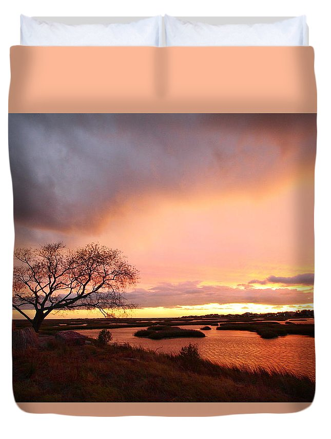 Galveston Duvet Cover featuring the photograph Storm At Dusk 2am-108350 by Andrew McInnes