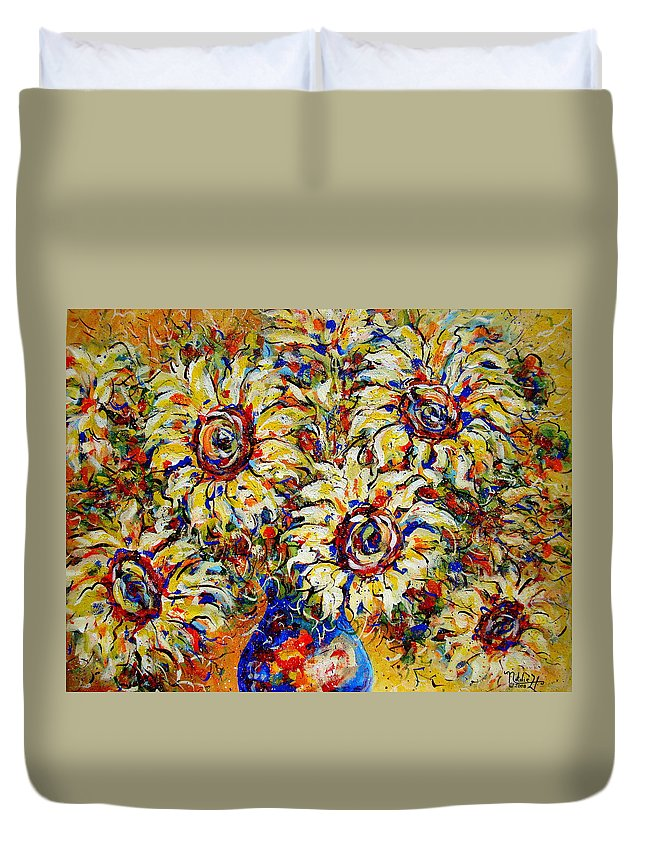 Flowers Duvet Cover featuring the painting Vibrant Sunflower Essence by Natalie Holland