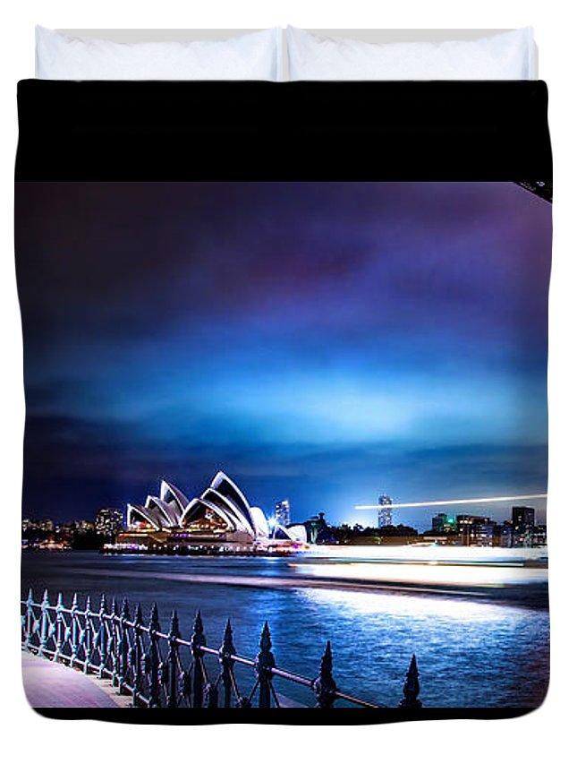 Sydney Duvet Cover featuring the photograph Vibrant Sydney Harbour by Az Jackson
