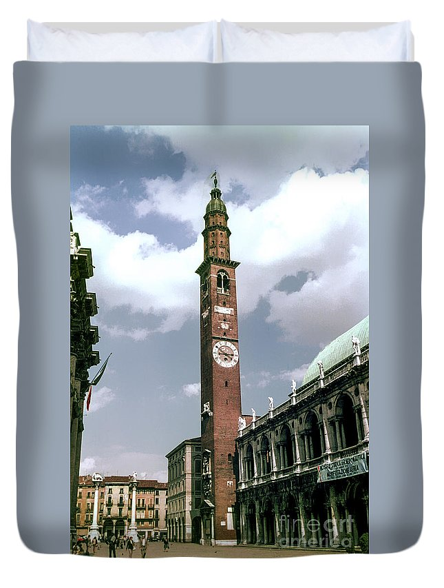 Vicenza Basilica Of Palladio Church Churches Building Buildings Clock Tower Clocks Towers City Cities Cityscape Cityscapes Structure Structures Architecture Image Duvet Cover featuring the photograph Vicenza Clock Tower by Bob Phillips