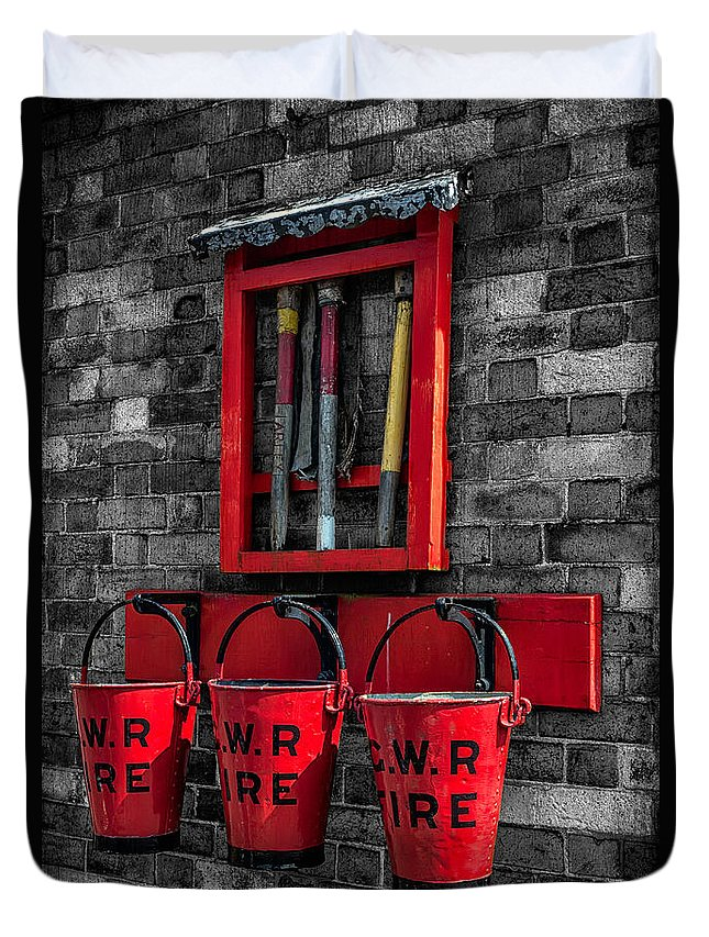 British Duvet Cover featuring the photograph Victorian Fire Buckets by Adrian Evans