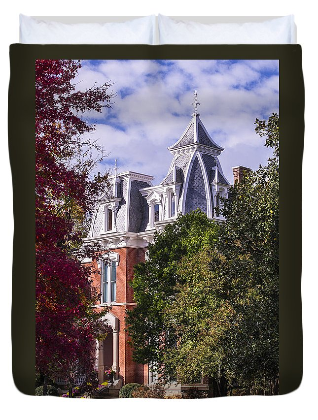 Autumn Trees Duvet Cover featuring the photograph Victorian Home In Autumn Photograph As Gift For The Holidays Print by Jerry Cowart