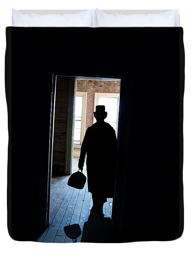 Young Duvet Cover featuring the photograph Victorian Man In Doorway by Jill Battaglia