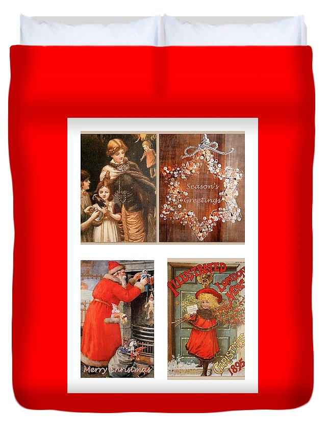 The Creative Minds Duvet Cover featuring the photograph Victorian Season's Greetings by The Creative Minds Art and Photography