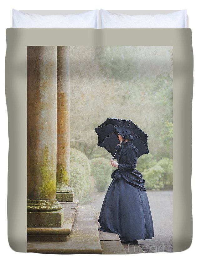 Victorian Duvet Cover featuring the photograph Victorian Woman On Stone Steps by Lee Avison