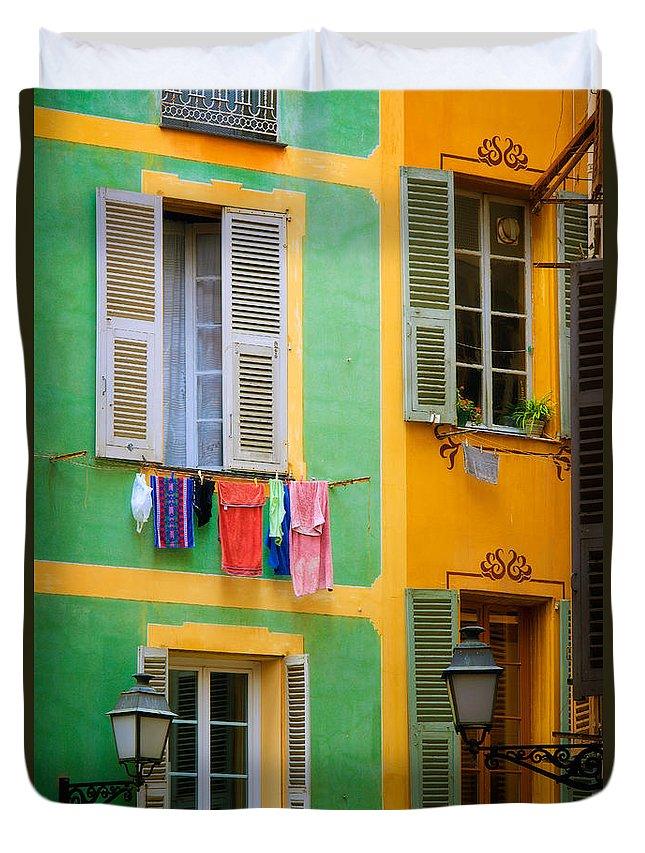 Cote D'azur Duvet Cover featuring the photograph Vieille Ville Windows by Inge Johnsson