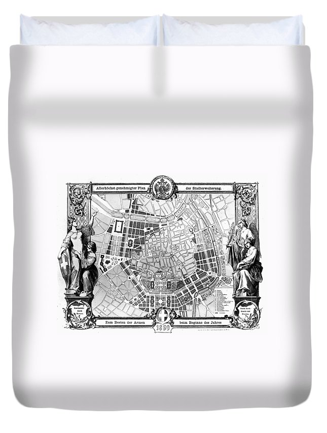 1860 Duvet Cover featuring the photograph Vienna: Plan, 1860 by Granger