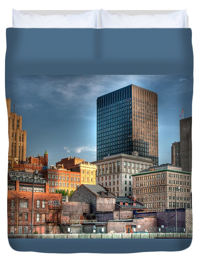 Old Duvet Cover featuring the photograph vieux Montreal by Elisabeth Van Eyken