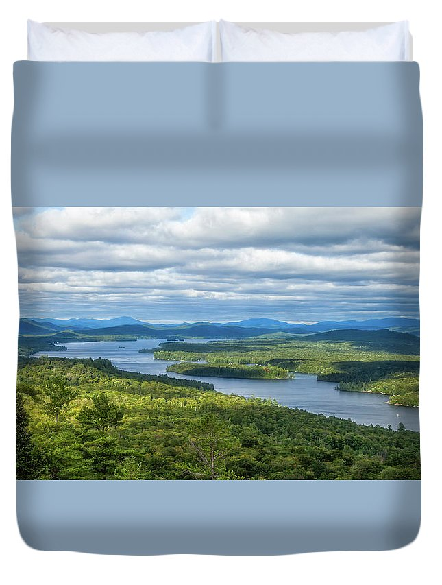 Tranquility Duvet Cover featuring the photograph View From Bald Mountain by Barbara Friedman