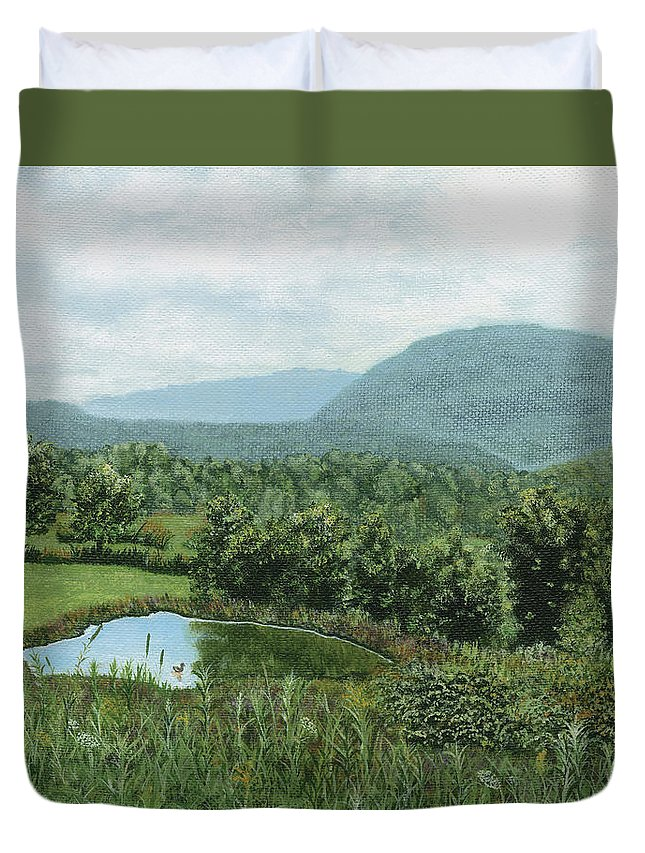 Landscape Duvet Cover featuring the painting View From Kent St. by Lucinda V VanVleck