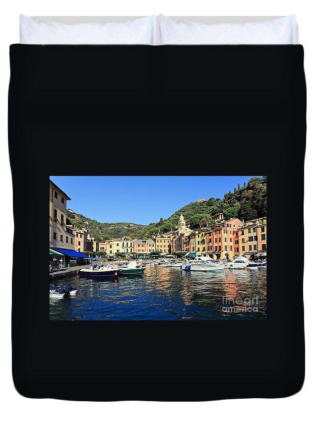 Architecture Duvet Cover featuring the photograph view in Portofino by Antonio Scarpi
