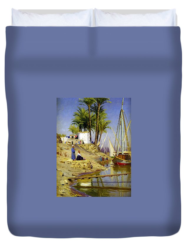 View Of Cairo Duvet Cover featuring the digital art View Of Cairo by Peder Mork Monsted
