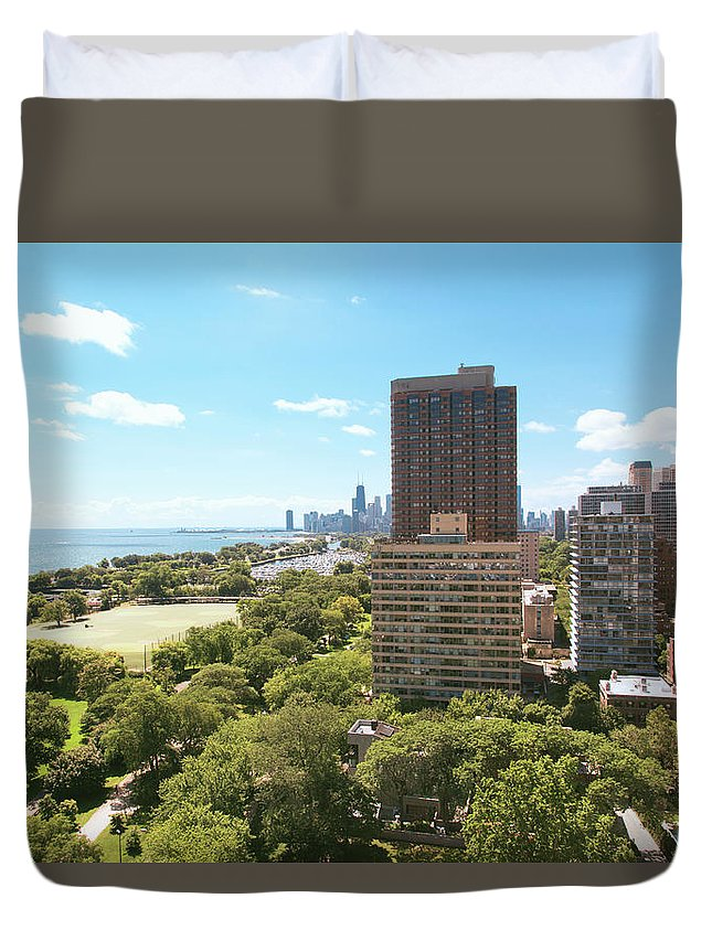 Lake Michigan Duvet Cover featuring the photograph View Of Chicago Skyline And Lake by Sasha Weleber