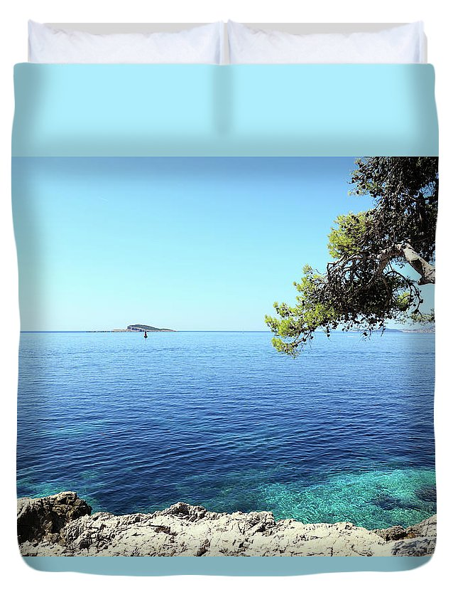 Water's Edge Duvet Cover featuring the photograph View Of Dubrovnik From Cavtat Peninsula by Vuk8691