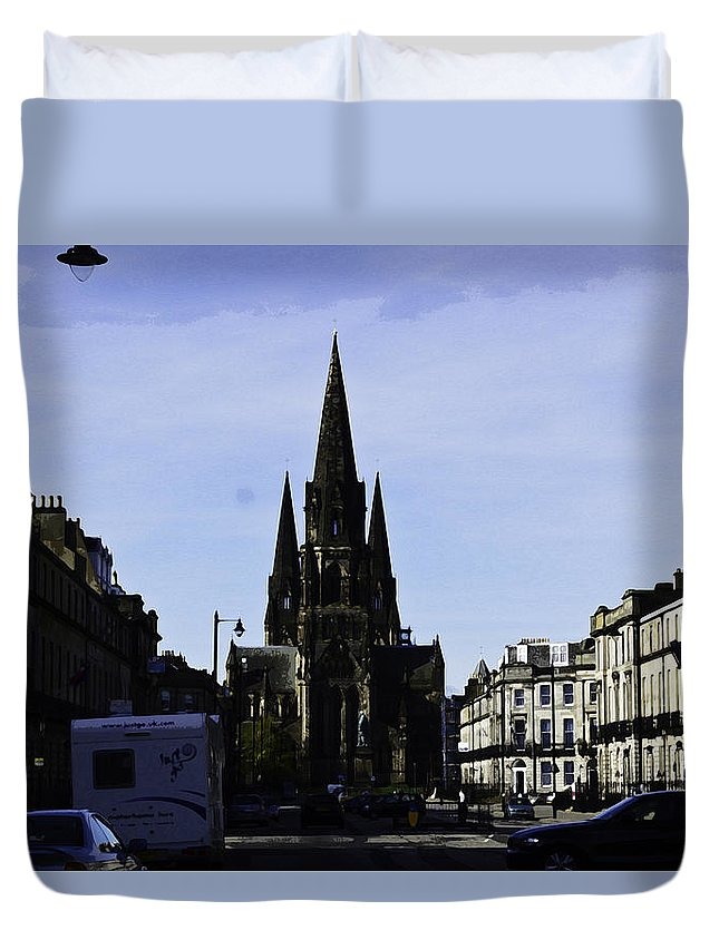 Action Duvet Cover featuring the digital art View Of Episcopal Cathedral In Edinburgh by Ashish Agarwal