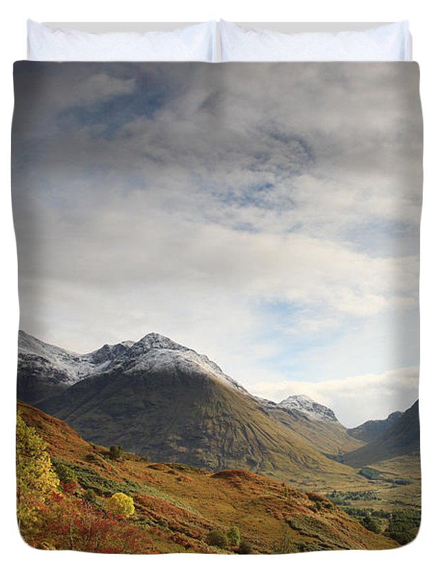 Blue Duvet Cover featuring the photograph View Of The Glencoe Mountains by Deborah Benbrook