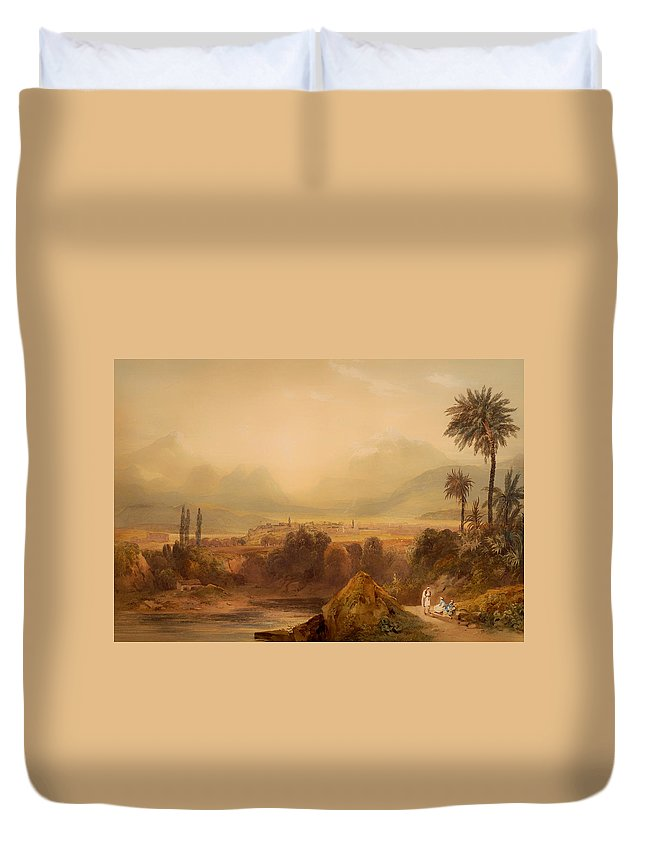 Painting Duvet Cover featuring the painting View Of Thebes by Mountain Dreams
