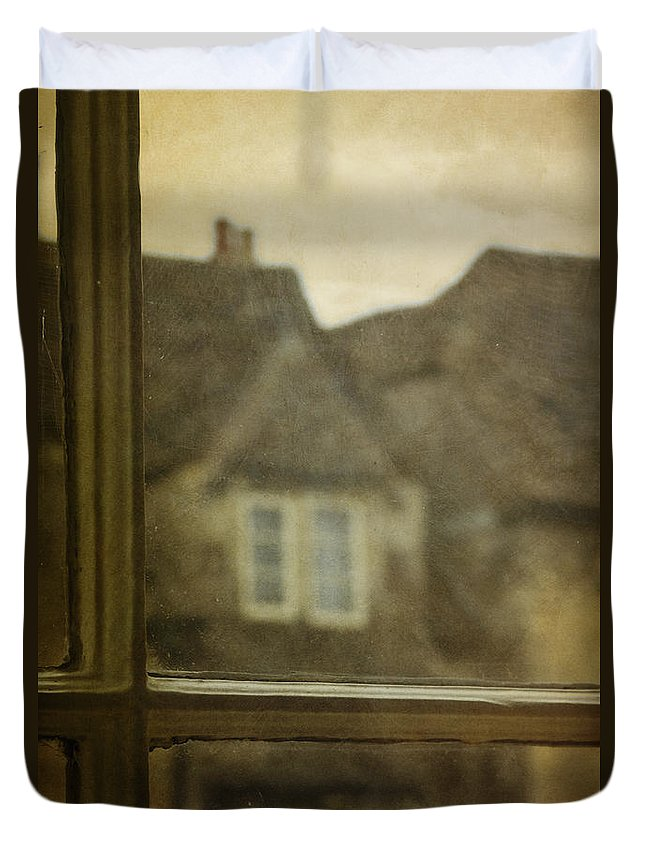 House Duvet Cover featuring the photograph View Out An Old Window by Margie Hurwich