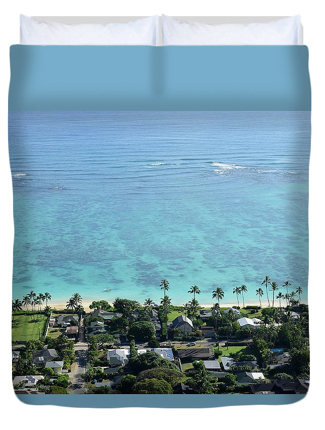 Horizontal Duvet Cover featuring the photograph View Overlooking The Coastline by Stocktrek Images