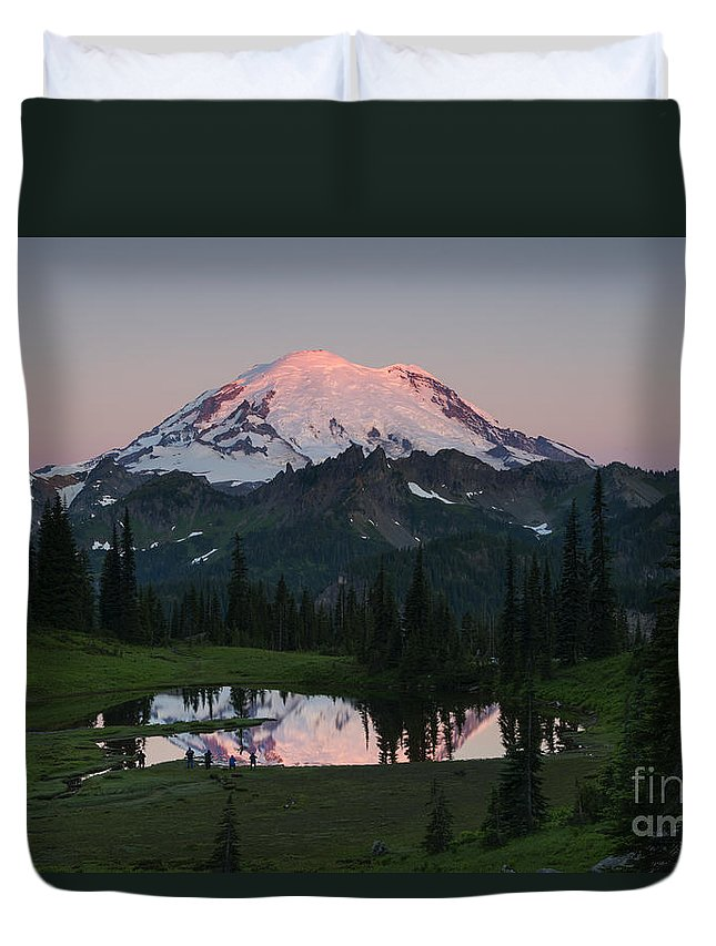 Rainier Duvet Cover featuring the photograph View To Be Shared by Mike Dawson