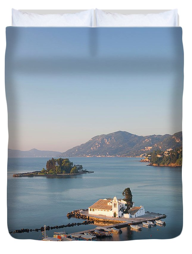 Scenics Duvet Cover featuring the photograph View To Vlacherna Monastery, Kanoni by David C Tomlinson