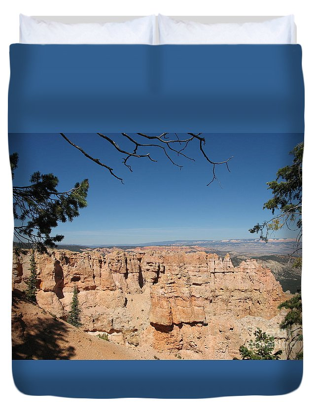 Mountains Duvet Cover featuring the photograph Viewpoint At Bryce Canyon by Christiane Schulze Art And Photography