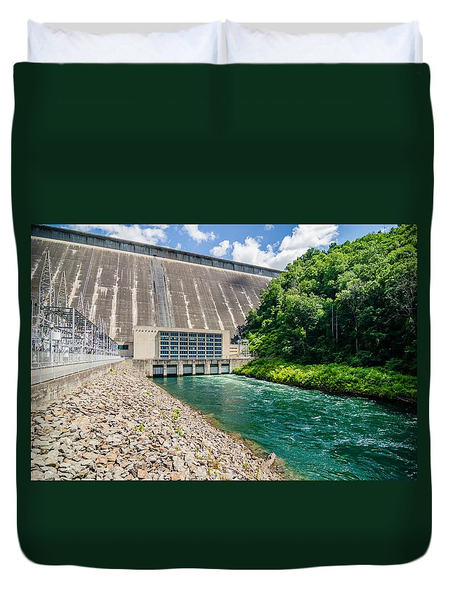Clean Energy Duvet Cover featuring the photograph Views Of Man Made Dam At Lake Fontana Great Smoky Mountains Nc by Alex Grichenko