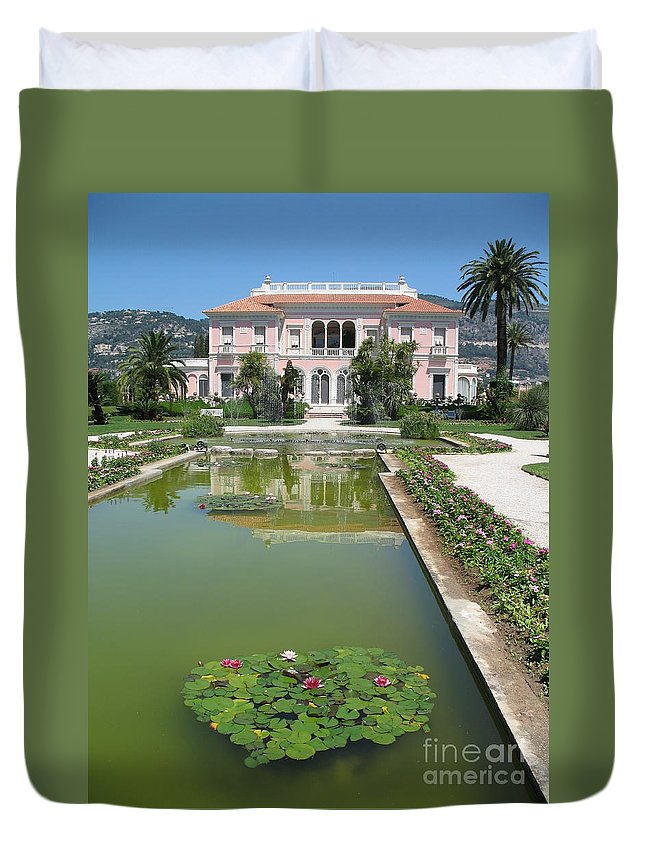Villa Duvet Cover featuring the photograph Villa Ephrussi De Rothschild With Reflection by Christiane Schulze Art And Photography