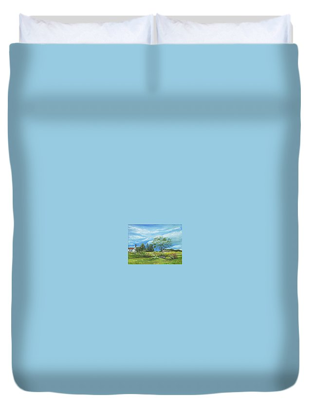 Landscape Duvet Cover featuring the painting Village Garden by Susan Hanna