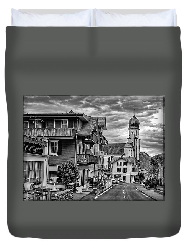 Switzerland Duvet Cover featuring the photograph Village Image B/w by Hanny Heim