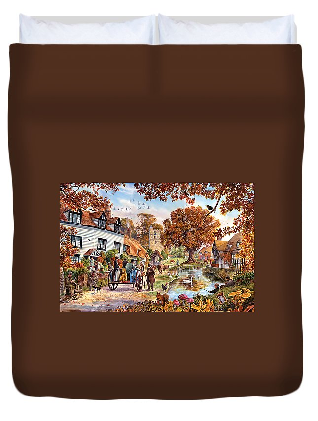 Steve Crisp Duvet Cover featuring the photograph Village In Autumn by Steve Crisp