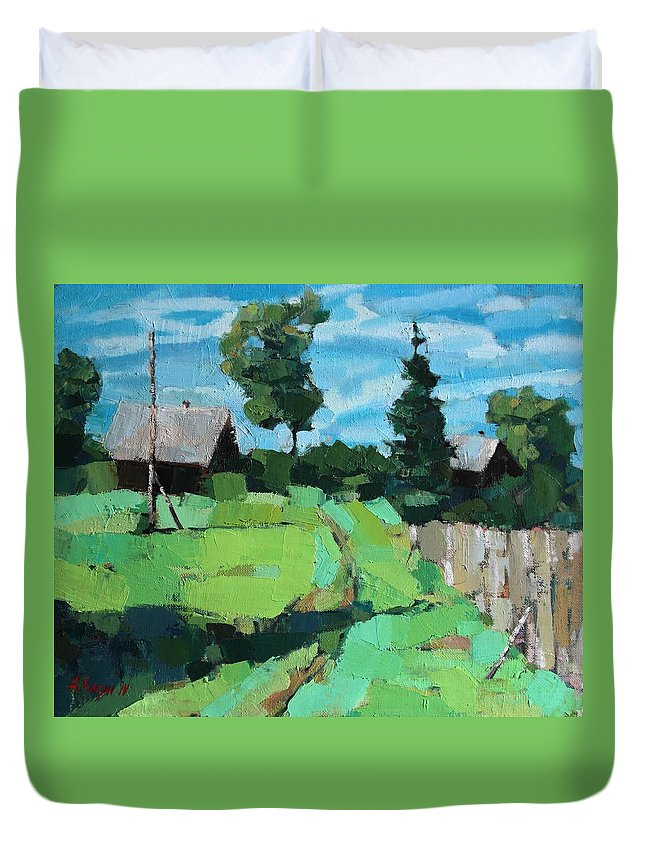 Kogan Duvet Cover featuring the painting Village Meadow by Alena Kogan