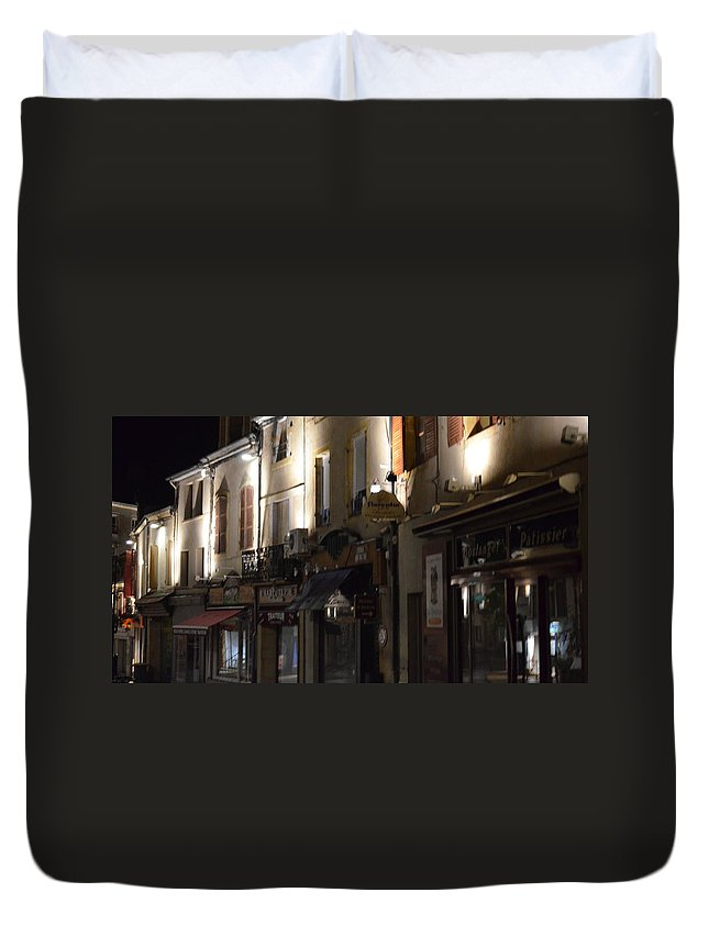 France Duvet Cover featuring the photograph Village Nightscape by Cheryl Miller
