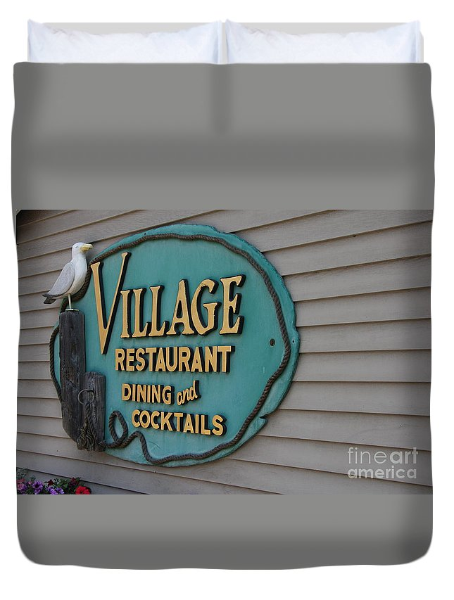 Gull Duvet Cover featuring the photograph Village Restaurant by Christiane Schulze Art And Photography