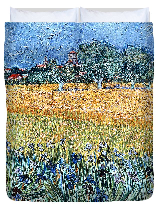 Field With Flowers Near Arles Duvet Cover featuring the painting Field With Flowers Near Arles by Vincent van Gogh
