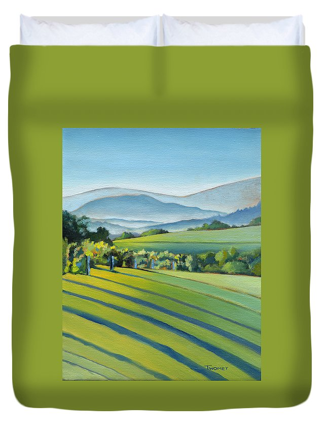 Twomey Duvet Cover featuring the painting Vineyard Blue Ridge On Buck Mountain Road Virginia by Catherine Twomey