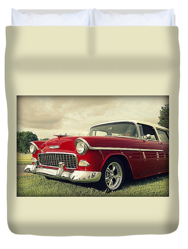 Chevy Duvet Cover featuring the photograph Vintage 1955 Chevy Nomad by Jen T