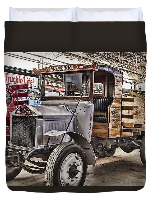 Vintage Albion Truck Duvet Cover featuring the photograph Vintage Albion Truck by Douglas Barnard