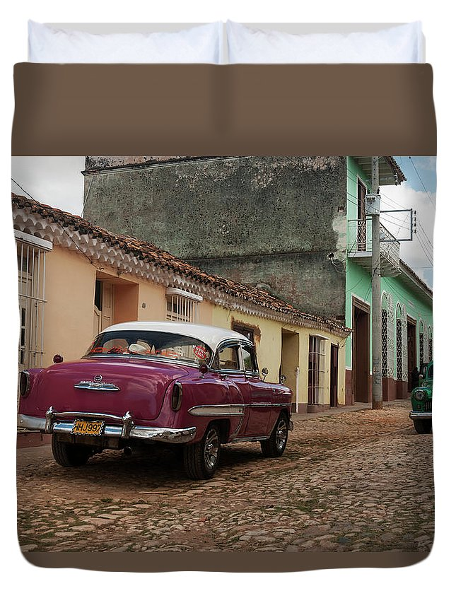 Latin America Duvet Cover featuring the photograph Vintage American Cars In Cuba by John Elk Iii