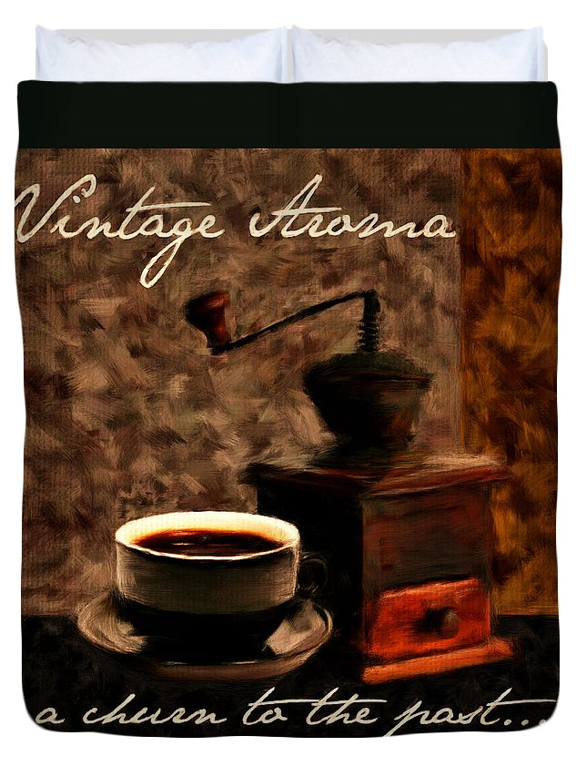 Coffee Duvet Cover featuring the digital art Vintage Aroma by Lourry Legarde