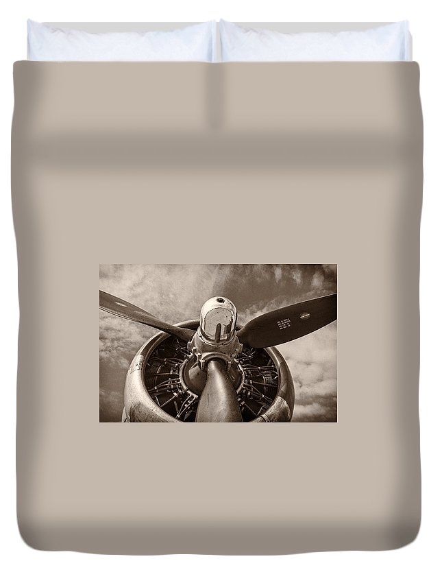 3scape Duvet Cover featuring the photograph Vintage B-17 by Adam Romanowicz