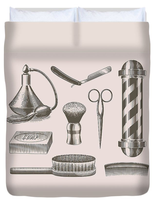 English Culture Duvet Cover featuring the digital art Vintage Barbershop Objects by Darumo
