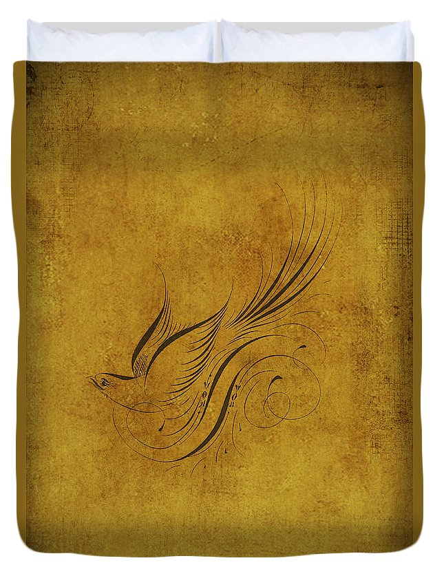 Birds Duvet Cover featuring the digital art Vintage Bird On Gold by Peggy Collins